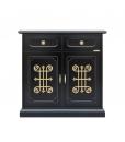 2 door black sideboard, gold details, black furniture, black cupboard