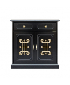 2 door black sideboard, gold details, black furniture, black cupboard