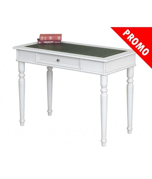 White desk with eco-leather top. Sku 107-bi-bul-promo