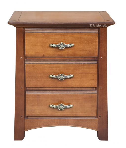 Classic nightstand 3 drawers, classic bedside table, wooden bedside table, classic furniture, 3 drawers nightstand