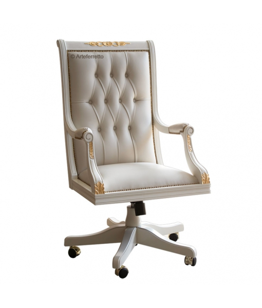 decorated swivel armchair, wooden armchair, office armchair, swivel chair, upholstered armchair with wheels