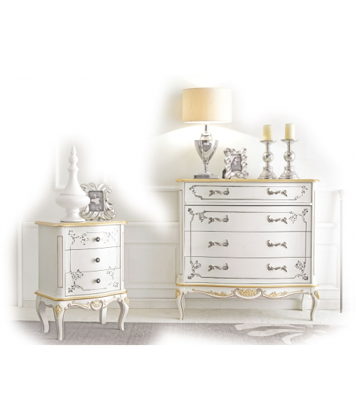 decorated bedroom set, decorated dresser, wooden furniture, decorated nightstand, classic style furniture, luxury furniture