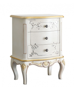 decorated nightstand 3 drawers, bedroom furniture, classic style furniture