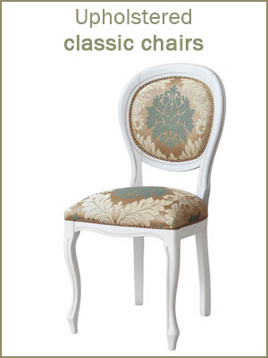 Upholstered classic chairs, traditional chairs category, wooden chairs, Italian design chairs