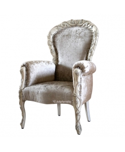 Decorated armchair, luxury armchair, wooden armchair, reading armchair, classic style armchair, handcrafted armchair, Italian design, Italian armchair, upholstered armchair for living room, hallway armchair