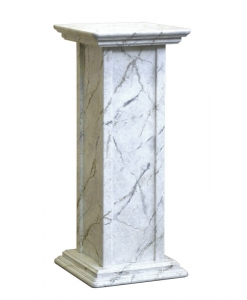 wood pedestal stand in marble finish, wood stands, Arteferretto furniture, entryway stand