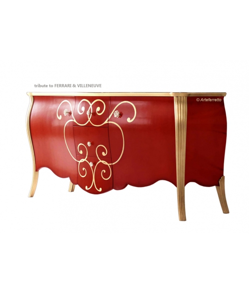 Wooden sideboard Legends collection. Red and gold finish. Sku miti-01
