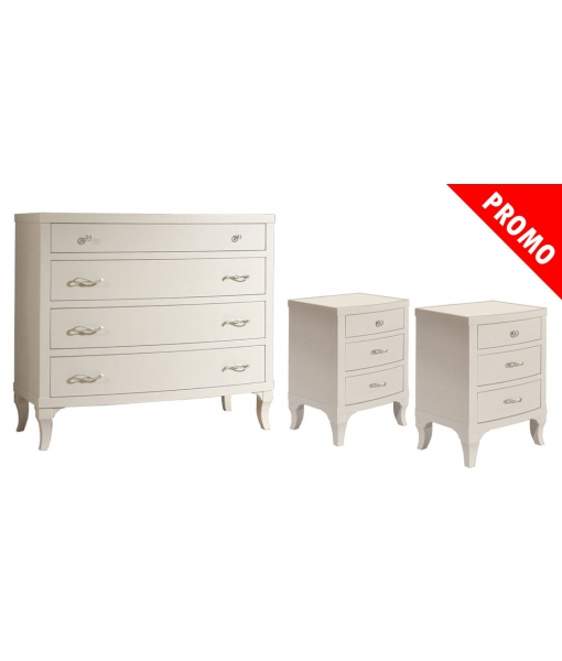 Bedroom set in wood. White colour. Sku 011-12-ta
