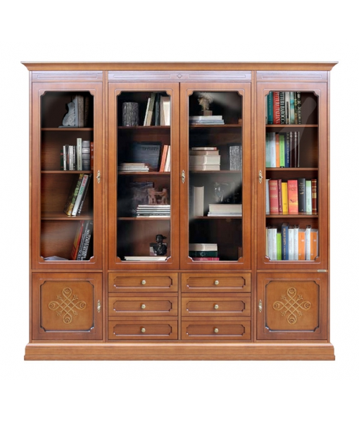 Glass door wall unit in wood. Sku 3215-you_styl