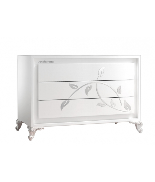 White dresser with silver decorations. Sku eb-c1