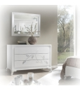 white dresser with silver decorations, chest of drawers, dresser 3 drawers, wooden dresser, bedroom dresser, bedroom chest of drawers