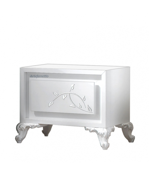 White bedside table with silver decorations. Sku eb-c2