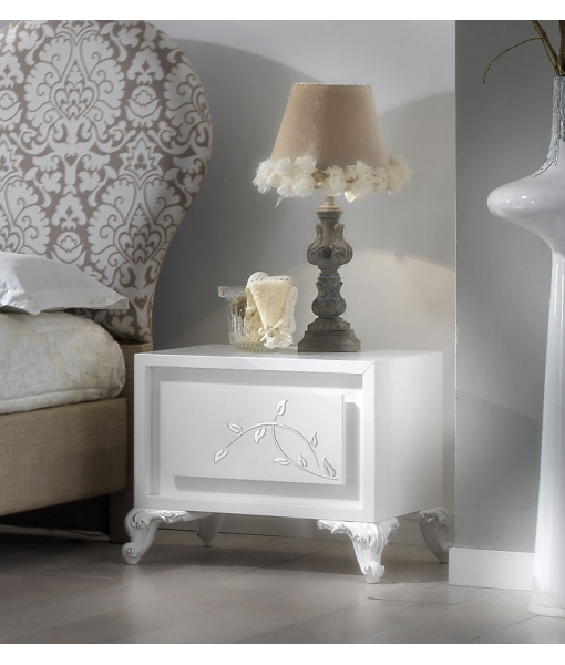 white bedside table, wooden bedside table, silver leaf nightstand, bedroom nightstand, wooden bedside table