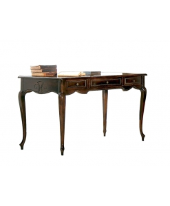engraved desk, walnut colour desk, wooden desk, writing desk for office, classic style desk, 3 drawers desk, office furniture