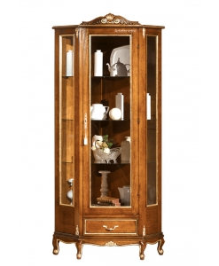 Corner display cabinet in wood, wooden cabinet for corner, living room corner cabinet, display cabinet
