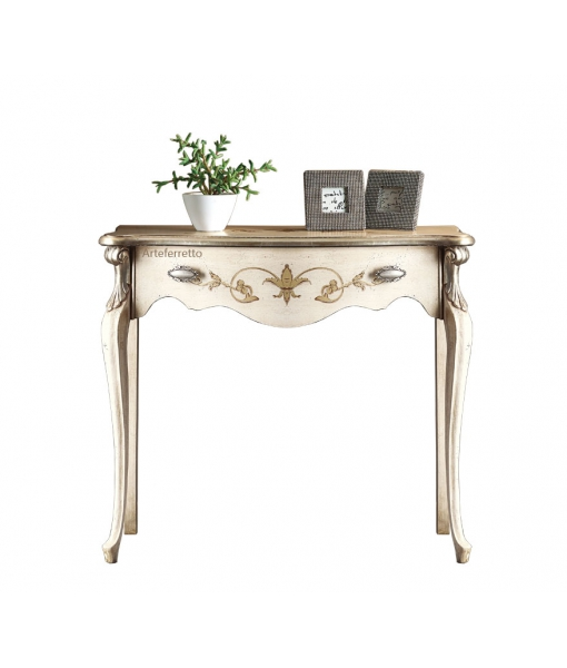 decorated console table, wooden console table, ivory console table, hallway table, side table with decorations