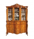 Inlaid display cabinet, 6 doors 3 drawers cabinet, living room cabinet, wooden cabinet in classic style, inlaid showcase