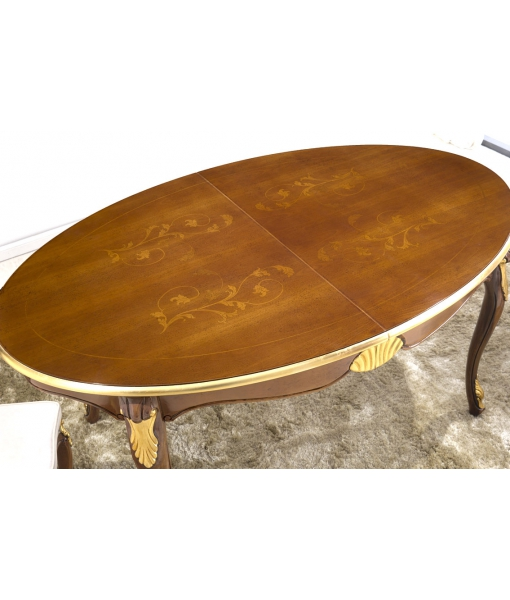 oval dining table, wooden table, dining table in wood, classic style table, oval table with gold details