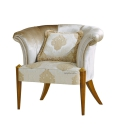 refined upholstered armchair, tub armchair, wooden structure armchair, living room armchair, classic style armchair