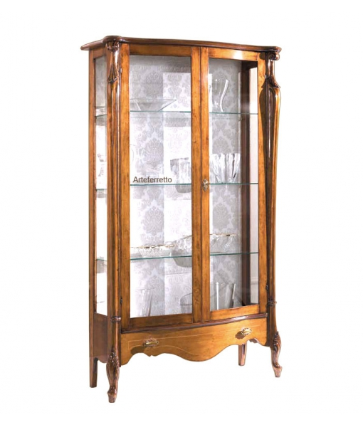 2 Door glass cabinet with drawer. Sku p-e033