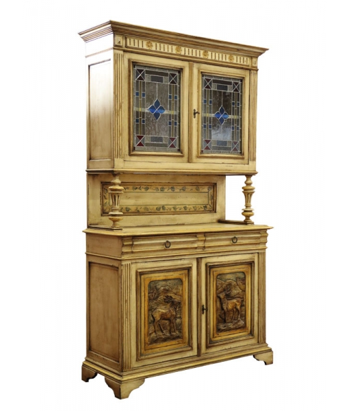 carved two-part cupboard, wooden masterpiece, wooden cupboard, display cabinet