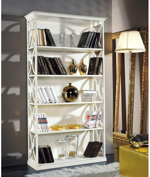 open shelving bookcase, wooden bookcase, living room bookshelf, living room furniture, Arco collection, Italian design