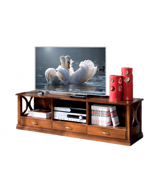 Low tv cabinet in wood for living room. Sku b917-t