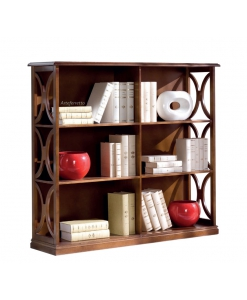 low bookcase in wood, wooden bookcase, bookshelf, living room bookcase, open shelving bookcase, space saving bookcase
