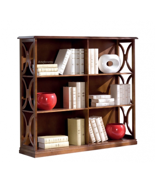 Low bookcase in wood. Living room bookshelf. Sku b922-t_styl