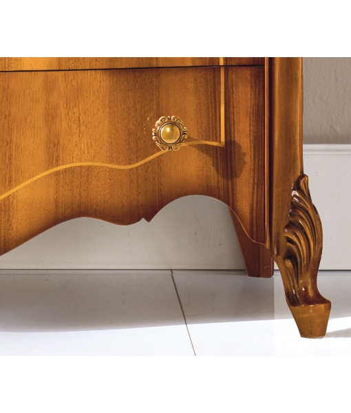 floral inlay dresser, chest of 7 drawers, chest of drawers for bedroom, bedroom furniture, Sensazioni collection, wooden dresser, classic style furniture. Italian design furniture,