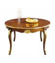 round dining table, wooden table, rounded table, decorated dining table, classic style dining table