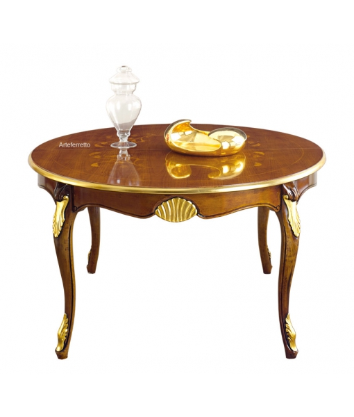 Round dining table with inlaid top . Sku e488-v