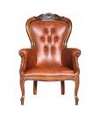 Luxury armchair, classic armchair, genuine leather armchair, wooden structure armchair, Italian design furniture, comfortable reading armchair