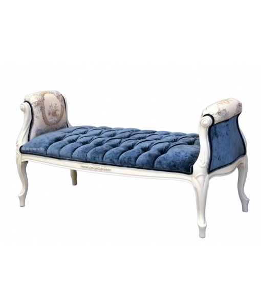 carved bedroom bench, wooden bench, wood bedroom bench, hallway bench, Italian design bench, handcrafted furniture, blue velvet