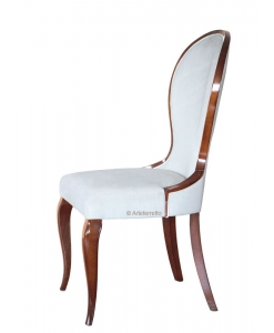 Shaped dining chair, wooden chair, chair in wood, dining chair in classic style, Italian design chair, upholstered chair