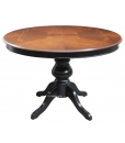 two tone inlaid table, wooden table, inlaid table, extendable table, round table, dining table