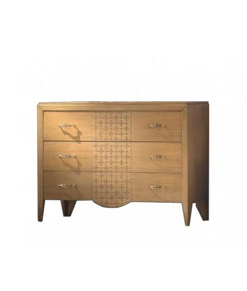 3 Large drawers dresser for bedroom in wood. Sku A062-f Blonde colour
