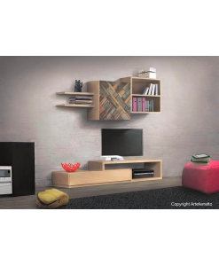 modular living wall in wood, wooden composition, modular living room unit, wooden living room unit, tv stand, composition for living room, modern style furniture, Italian design furniture