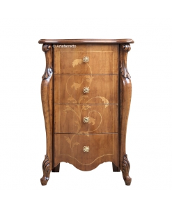 inlaid chest of 4 drawers, chest of drawers, bedroom dresser, wooden furniture, classic style chest of drawers