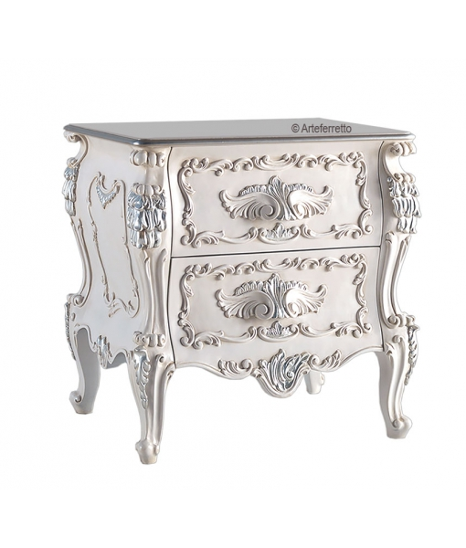 Decorated bedside table 2 drawers. Sku g76-m
