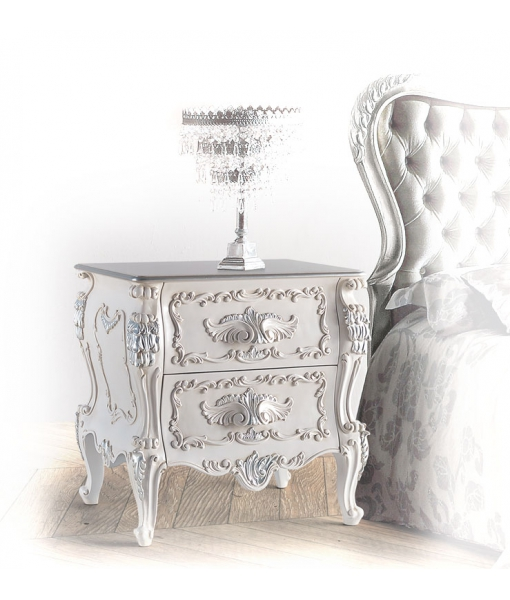 decorated bedside drawers, wooden nightstand, classic style bedside table, Italian design furniture., luxury bedside table, luxury furniture, lacquered nightstand