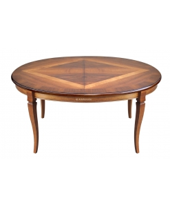 Extendable oval dining table, dining table in wood, inlaid table, wooden oval table, inlaid top table,