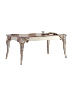 decorated dining table, carved table, rectangular table, extendable table, handcrafted table
