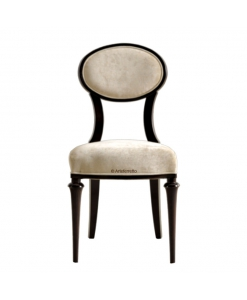 Oval backrest chair, wooden chair, dining room chair, living room chair, classic style chair, upholstered chair,