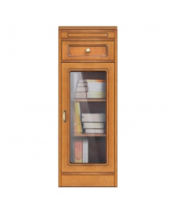 bookcase with drawer, display cabinet, living room small bookcase, small cabinet, wooden structure, Arteferretto furniture, Arteferretto cabinet