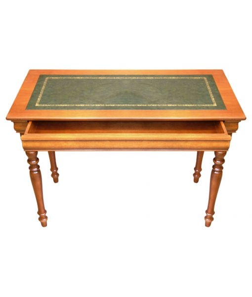 small writing desk, leather top desk, wooden desk, solid wood, office desk, small desk, classic style desk, Luis Philippe style, Handcrafted desk, Arteferretto furniture