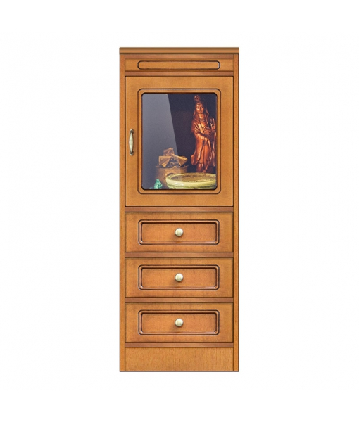 Low display cabinet 1 glass door, 3 drawers. Sku CN-136