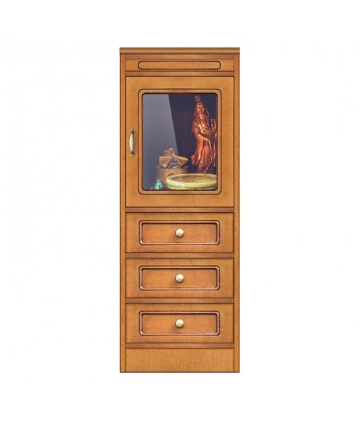 Low display cabinet 1 glass door, 3 drawers. Sku CN-136