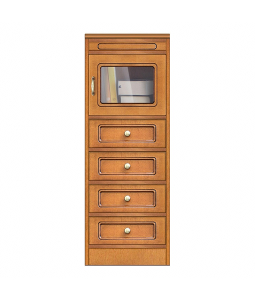 Living room wood cabinet 4 drawers 1 glass door. Sku CN-138