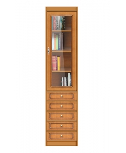 space saving bookcase, wooden bookcase, modular bookcase, Arteferretto furniture, single door bookcase, adjustable shelves, solid structure bookcase